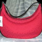 Anne Klein Slouch Hand Bag Berry Red AK Monogram Hobo Purse Handbag Tote New