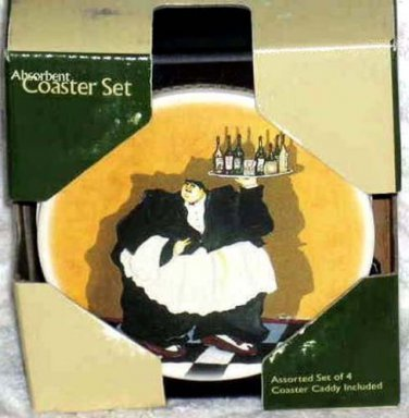 Jennifer Garant Coasters Fat Wine Waiter Absorbent Set 4 in Wood Caddy New