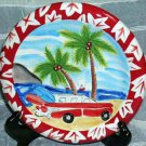 Hand Painted Plate Hang 10 1957 Chevy Station Wagon Surfboards Beach Dessert New