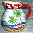Hand Painted Pitcher Hang 10 1957 Chevy Station Wagon Surfboards Beach New