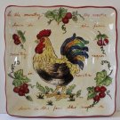 Hand Painted Plate Chianti Rooster Tuscan Square Dessert Lunch Stoneware New