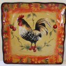 Hand Painted Plate Harvest Rooster Tuscan Style Square Salad Lunch Stoneware New