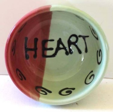 Hand Painted Bowl Sweetheart Heart Dessert Condiment Italy Art Collectible New
