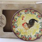 American Atelier Plate Rooster Petite Provence Chintz Toile Desser Decor New