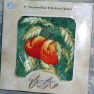 American Atelier Plate & Hanger Peaches Lattice Fruit Dessert Brass Decor New