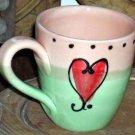 Hand Painted Mug Embossed Red Heart Sweetheart Italian Italy Art Collectible New