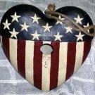Americana Bird House Stars & Stripes Red White Blue Heart Shaped Garden New