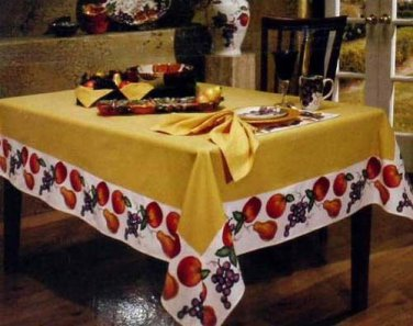 Tabletops Gallery Tablecloth Venetian Wine Country Fruit Butter Gold 60x104 NEW