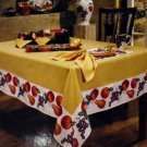 Tabletops Gallery Tablecloth Venetian Wine Country Fruit Butter Gold 60x80 NEW