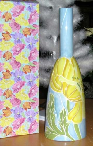 222 Fifth Vase Spring Kiss Narrow Neck Contemporary Shape Poppy Porcelain New