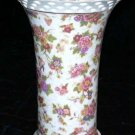 Baum Bros Vase Pierced Rim Magnolia Chinese Lanterns Floral Porcelain Chintz New