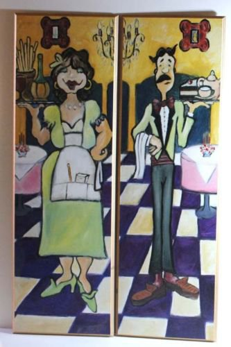 Waiter Waitress Wall Plaques Decorative Art Restaurant Kitchen Decor Set 2 New