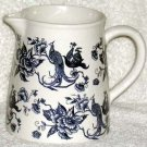 Royal Art Pitcher Toile Victorian Floral Pheasant Blue Stoneware England New