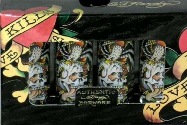 Don Ed Hardy Shot Glasses Love Kills Slowly Tattoo Skull Glass Snake Set 4 New