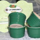 Le Creuset French Ramekins Poterie Green Stoneware Set 4 Embossed Ringware New