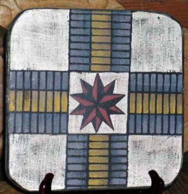 Folk Art Game Board Wall Plaque Vintage Reproduction Primitive Quilt Blocks Wood