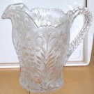 LE Smith Pitcher Clear Crystal Flowering Dogwood Floral Embossed Beverage New