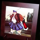 Jennifer Garant Trivet Tile Fat Golfer Swingers Pictorial Ceramic Wood Frame New