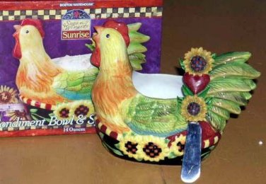 Susan Winget Bowl & Stainless Steel Knife Spreader Sunrise Chicken Condiment New