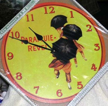 Wall Clock It's About Time French Poster Art Parapluie Umbrells Girls Country