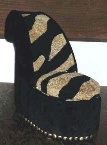 Tiger Stripe Shoe High Heel Jewelry Stash Hidden Box Fabric Display New