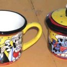 Candace Reiter Creamer Sugar Bowl  & Lid Set Catzilla Chef Cats Stoneware New