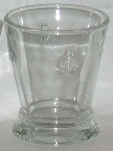 French La Rochere Tumbler Short Royal Bee Embossed Glass Footed Paris Musees New