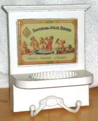 Wall Tile Soap Holder Towel Hooks Plaque French Babies Vintage Reproduction Bath