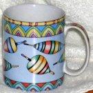 Siddhia Hutchinson Mug Splash Fishing Vintage Bobbers Coffee Stoneware New
