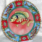 Siddhia Hutchinson Plate Splash Fish Bass Salad Dessert Salad Collectible New
