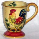 Rooster Sunflowers Mug Italian Tuscan Style Footed Hand Painted Stoneware New