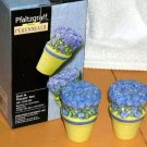 Pfaltzgraff Salt & Paper Shakers Shelby Pansy Viola Floral Topiary Figural New