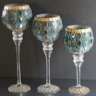 Glass Pedastal Candle Holders Turquoise Gold Tile Mosaic Votive Pillar Set 3 New