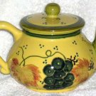 Blue Ridge Teapot Tuscan Grapes Leaves Hand Painted Tea Pot Stoneware New