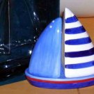 Nantucket Salt & Pepper Shakers Under Plate Blue White Sailboat 3 Pc Set New