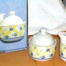 Pfaltzgraff Cream Sugar Bowl & Lid Shelby Pansy Viola Porcelain New