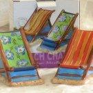 Clay Art Salt & Pepper Shakers Beach Chairs Tropical Stoneware Figural New