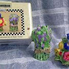 Sakura Sandi Evans Salt & Pepper Shakers Farmers Market Floral Figural New
