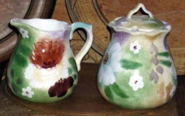 Sakura Cream & Sugar Bowl Set Romance Floral Cottage Garden 3pc Stoneware New