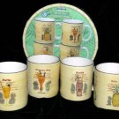 Paul Brent Mugs Tiki Tiki Cocktail Recipes 4 Sakura Stoneware Collectibles 4 NEW