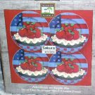 Sakura Warren Kimble Plates Dessert Salad American as Apple Pie Flag Set 4 New