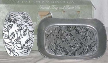 Wilton Bread Tray Trivet Set Armetale Metal Botanica Leaf Embossed Serving New