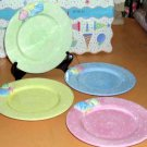 Patti Cappell Plates Beach 3-Dimensional Seashell Polka Dots Pastels 4 New