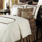 Hotel Collection Full Queen Coverlet Sham Set Colorblock Ivory Brown 2pc New