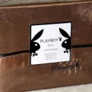 Playboy Sheet Set King Hugh Hefner Bronze Embroidered Rabbit Head Poly Satin New