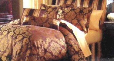 Croscill Duvet Cover Full/Queen Antonia Damask Cocoa Gold Medallion Scroll New
