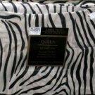 Victoria Classics Sheet Set Queen Luxury Satin Poly Black White Zebra Stripe New