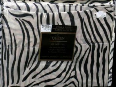 Victoria Classics Sheet Set Queen Luxury Satin Poly Black White Zebra Stripe New