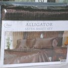 Victoria Classics Sheet Set Queen Satin Poly Alligator Mock Croc Brown 4pc New