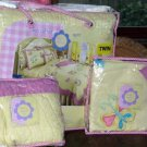 That's Mine Quilt Twin Valance Sham Set Audrey Yellow Butterflies Flowers New